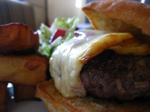 Venison burger with cheese