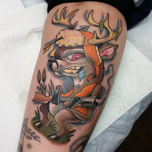 deer rifle tattoo
