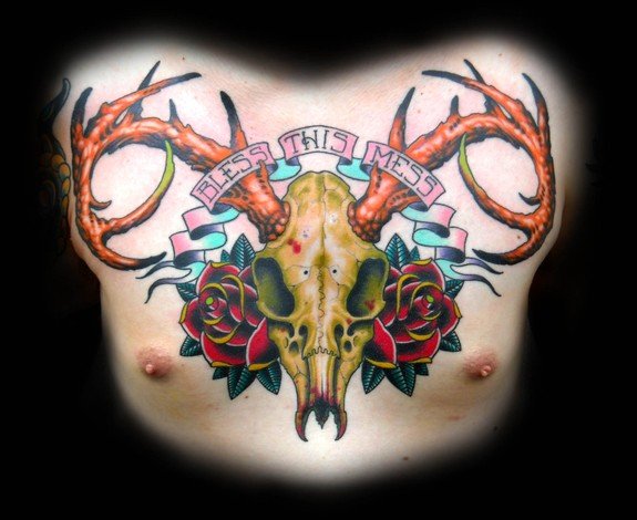 deer skull and roses tat