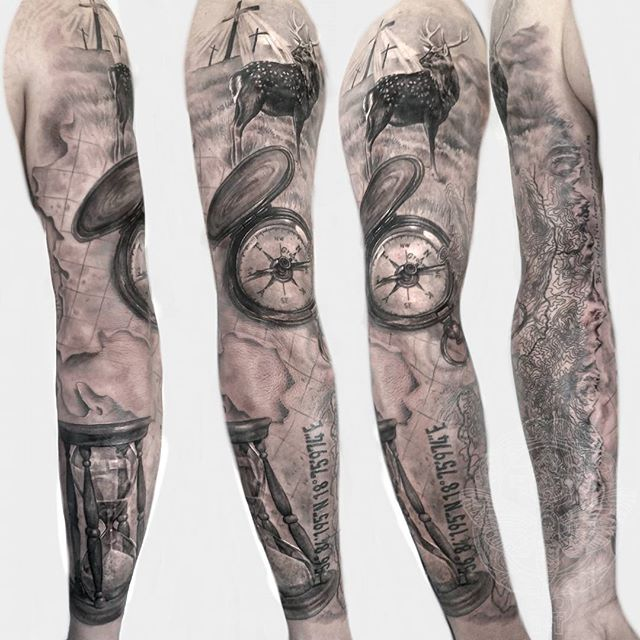 hunting sleeve tattoo