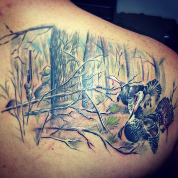turkey hunting tattoo